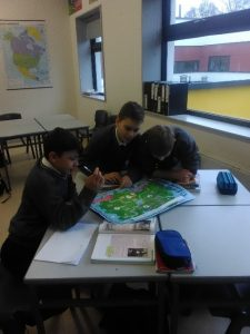The students studied maps to look at the spread of diseases such as cholera